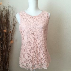 Adrianna Papell light pink lace top